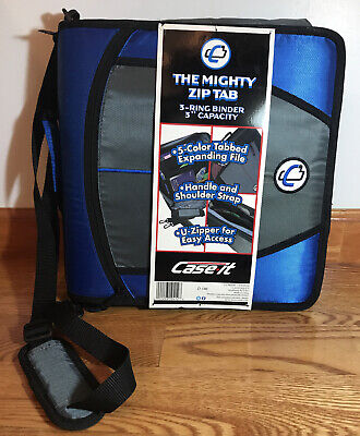 Case-it Mighty Zip Tab O-ring Binder Blue 3 Inches - Brand New With Tags