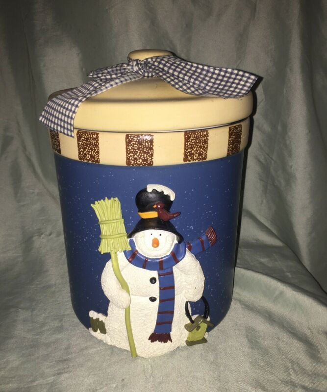 "Christmas Stoneware Cookie Jar 3 Dimensional Snowman Happy Holidays 10.5"" Tall"
