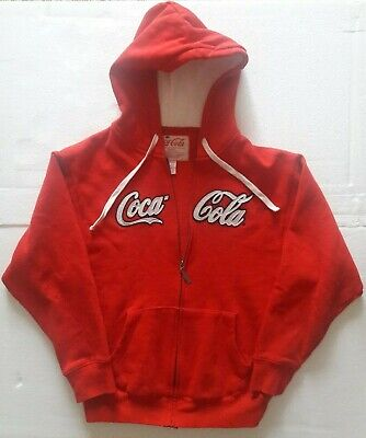 Vintage Coca-Cola Official Men's Size Small Hoodie Zip Up Red Sweat Shirt