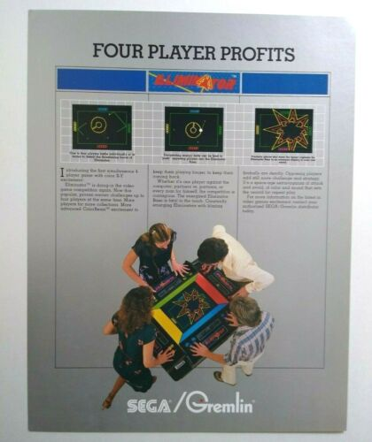 Gremlin Eliminator Arcade FLYER Original 1981 Video Game Artwork Sheet Sega