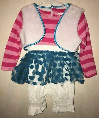 girls size 2T LALALOOPSY HALLOWEEN COSTUME 1 PC  pink blue white FURRY VEST CUTE