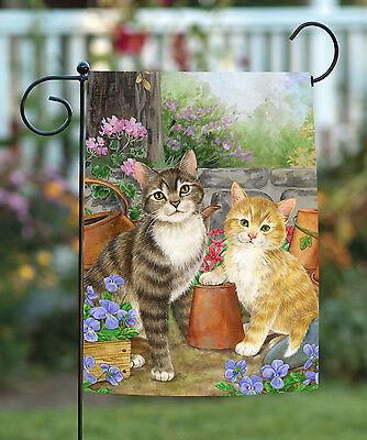 Toland Purrfect Garden 12.5 x 18 Cute Kitty Cat Spring Flowe