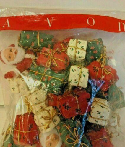 Flocked Santa Claus Garland Vintage Avon Christmas NOS Sealed