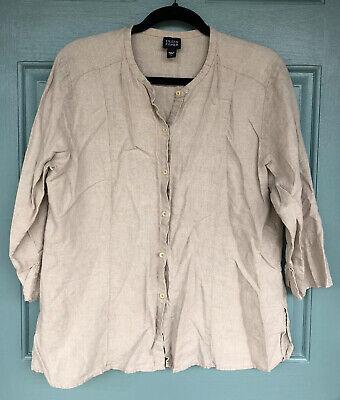 Eileen Fisher Women's Large Beige Khaki Button Up Jacket Cardigan 100% Linen