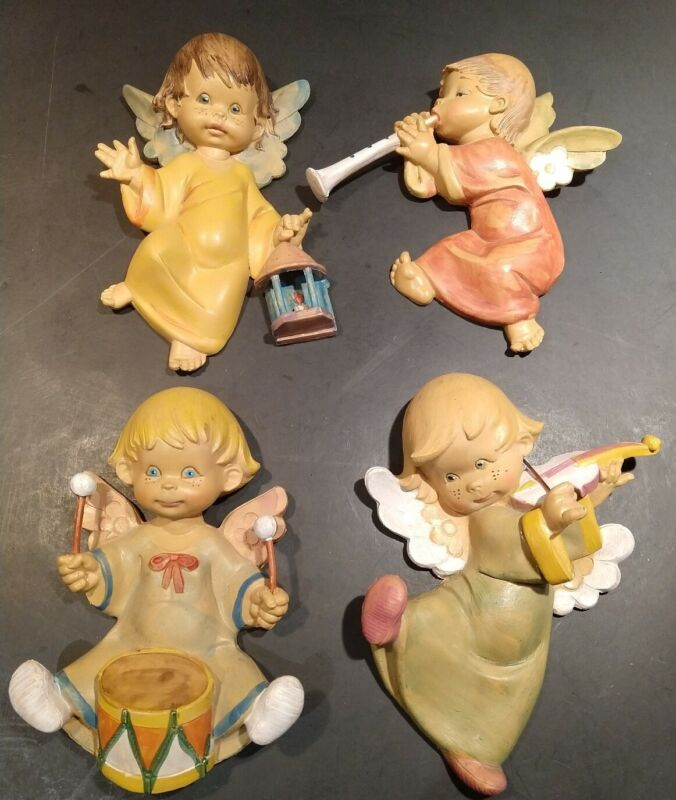 Vintage Angel Band Baby Nursery Decor Italy Cherub Resin Wall Hanging CUTE