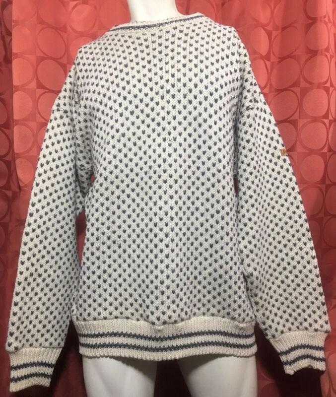 XL Vintage DEVOLD NORDSJØ Norwegian 100% WOOL Sweater ANTHRACITE Ivory NORWAY
