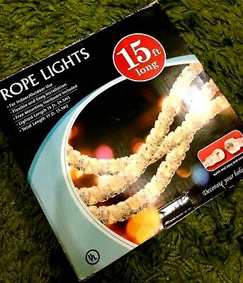 Walmart 15 ft White Rope Lights Christmas/Holidays/Weddings *New in Box*