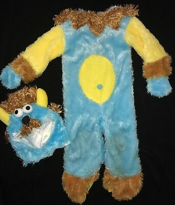 baby boy blue FURRY MONSTER HALLOWEEN COSTUME 2 PC 6-12 months HEAD PIECE cute @