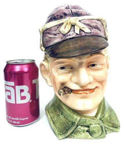 Antique German Humidor Tobacco Jar Majolica Figural Man Head Smoking Cigar GIFT