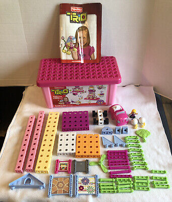 Fisher Price Trio Blocks Pink Building Set Storage Box Girl 97 Pc R8867 Complete