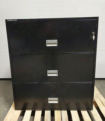Schwab 5000 Series 3-drawer Fireproof Lateral Filing Cabinet W Key Shipping Inc