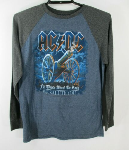 AC/DC For Those About to Rock Baseball T Shirt Mens Sz L Gray Blue