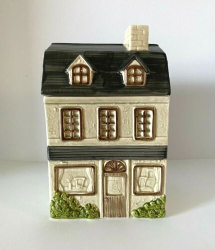 Otagiri Hand-Painted Victorian House Cookie Jar in Ivory, Gray and Tan (1980)