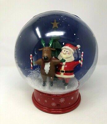 Vintage Gemmy Christmas Tabletop Animated Snow Globe Santa & Reindeer