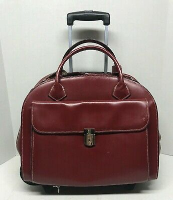 McKlein DETACHABLE Leather Wheeled Rolling Laptop Briefcase Red Travel Bag