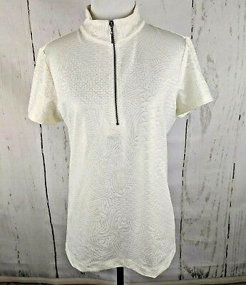 Weekends CHICOS Half Zip Short Sleeve Knit Top 1 White Gold Stretch Polo Shirt Stretch Half Zip Shirt