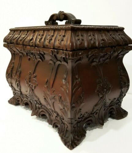 Antique Replica Hand Carved Solid Mahogany Chippendale Tea Caddy