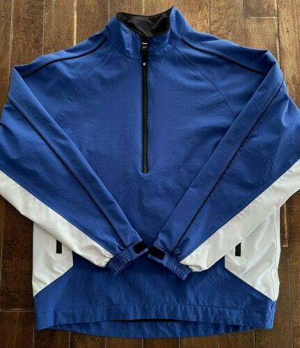 Footjoy DryJoys Windbreaker Pullover Jacket Mens Medium Long Sleeve Lined Blue