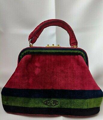 Vtg 40s Mid Century Roberta Di Camerino Velvet Carpet Bag Handbag Purse Italy