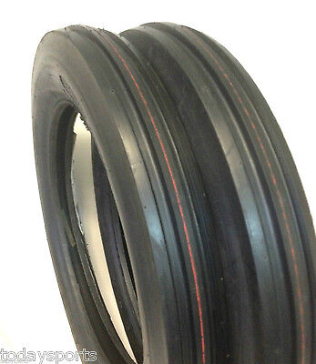 Two 4.00-19 400-19 400x19 F-2 Tri 3 Rib Front Tractor Tires Wtubes Ford 8n 9n