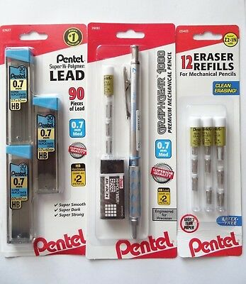 Pentel Graphgear 1000 Premium Mechanical Pencil 0.7mm Super Bundle New