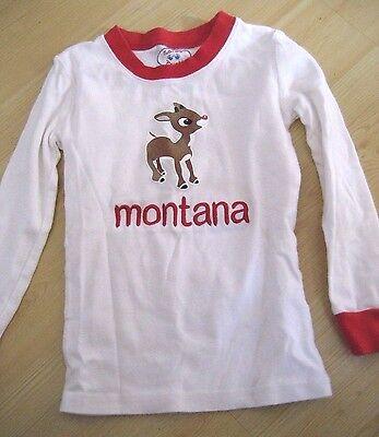 Kids 6 SARAS PRINTS Rudolph Red Nosed Reindeer Xmas PJ TOP Personalized MONTANA ()