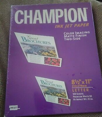 Champion Ink Jet Paper 100 SHEETS 8.5 x 11 MATTE FINISH - two side premium white - Two Sided Matte Paper