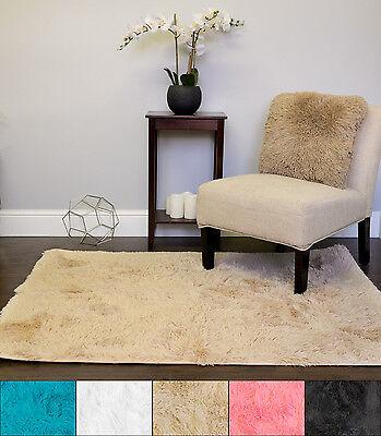 Plush Faux Fur Shag  Solid Color Rectangle Floor Area Rug 4