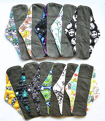 3 LONG Panty Liners CHARCOAL Bamboo Reusable Cloth Mama Menstrual Pads 10in - Pads Panty Liners