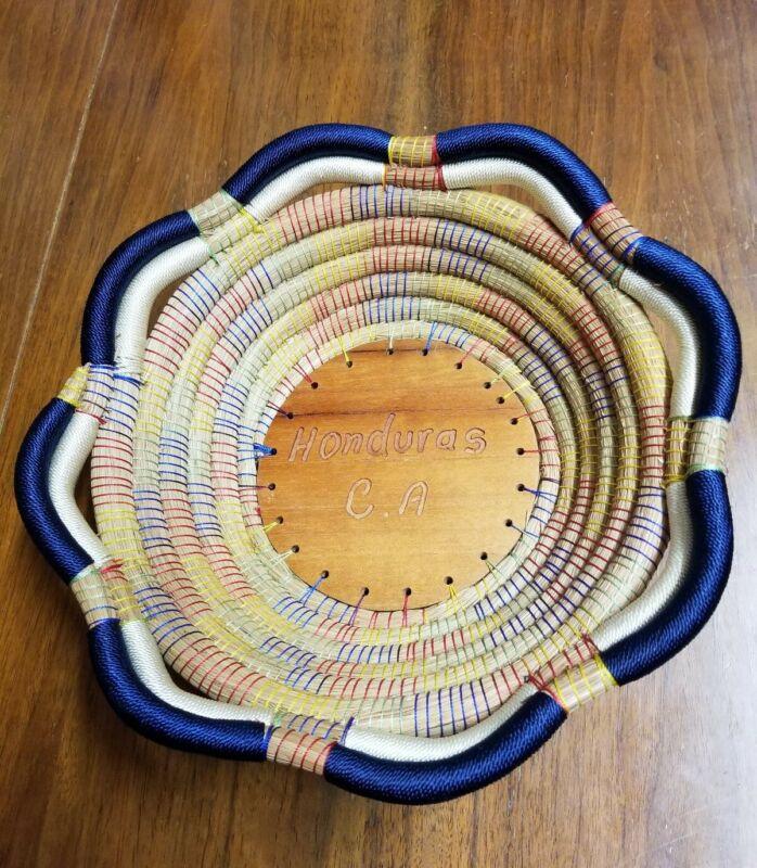 Large Hand Woven Multicolored California Basket 11 x 3.5 Honduras, CA Excellent