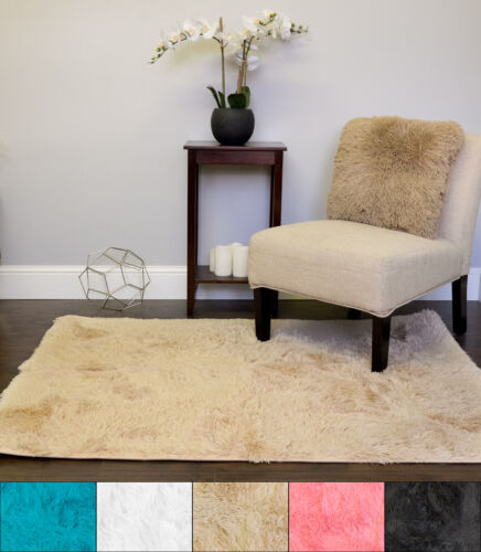 Plush Faux Fur Shag  Solid Color Rectangle Floor Area Rug 4′ x 5′ Area Rugs