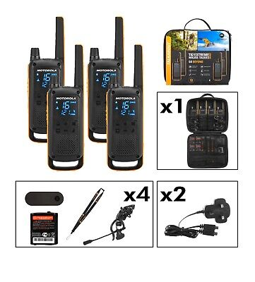 Brand New Motorola T82 Extreme Walkie Talkie Quad Pack Licence Free 2 Way Radios