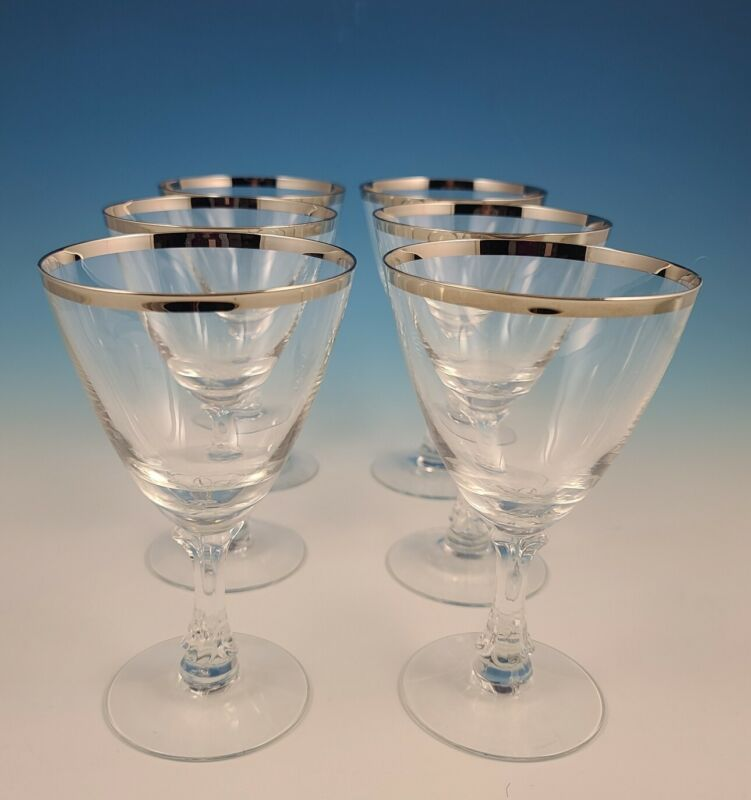 Set of 6 Fostoria WEDDING RING #6051 Platinum Trim Water Goblets