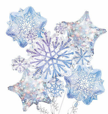 Snowflake Balloon Bouquet ~ Holiday & Birthday Decorations Party Supplies ~ 5pc.