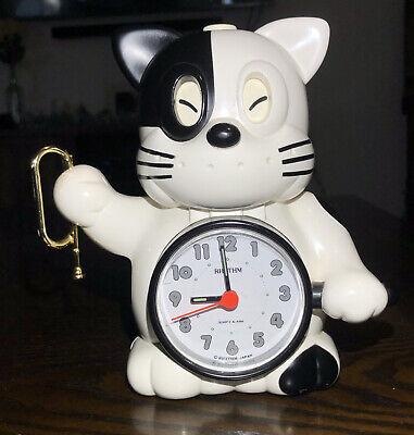 Vintage Rhythm Japan Cat Clock Speak Up Alarm 4RE412 Black White Quartz Antique