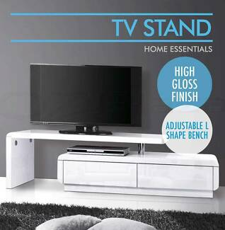 High Gloss TV Stand Entertainment Unit Adjustable Lowline Cabinet