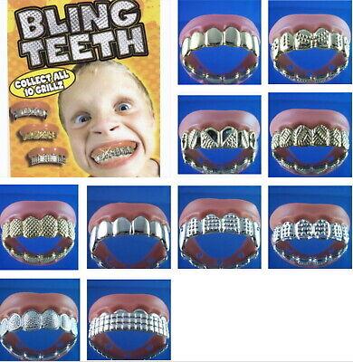 5 Bling Grill Grillz Fake Teeth Bulk Halloween Birthday Party Gold Silver USA ](Fake Gold Teeth Halloween)