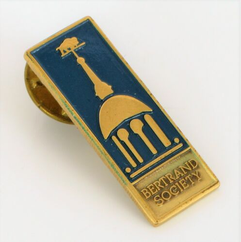 VINTAGE BERTRAND RUSSEL SOCIETY MEMBERSHIP PIN GOLD TONE COSTUME TIE TACK PIN !