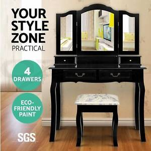 Luxury Dressing Table Stool Mirrors Jewellery Cabinet 4 Drawer