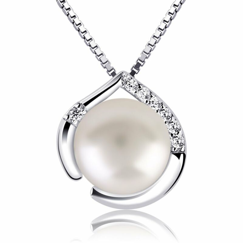 18K white Gold over 925 Sterling Silver Freshwater Pearl diamond Chain Necklace