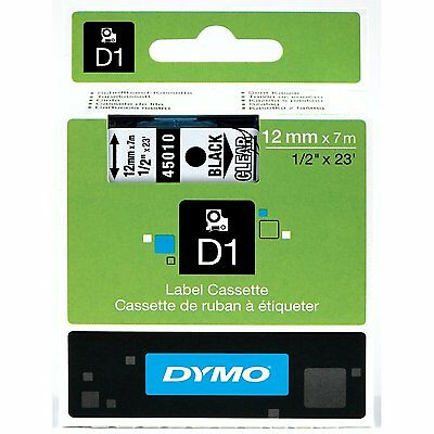 Dymo 45010 D1 Tape Cartridge For Label Makers Black On Clear 12 W X 23 Ft.