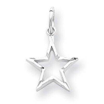 White Gold Flat Star (10 KT White Gold Diamond Cut Star Pendant Charm Open Flat Back NEW )