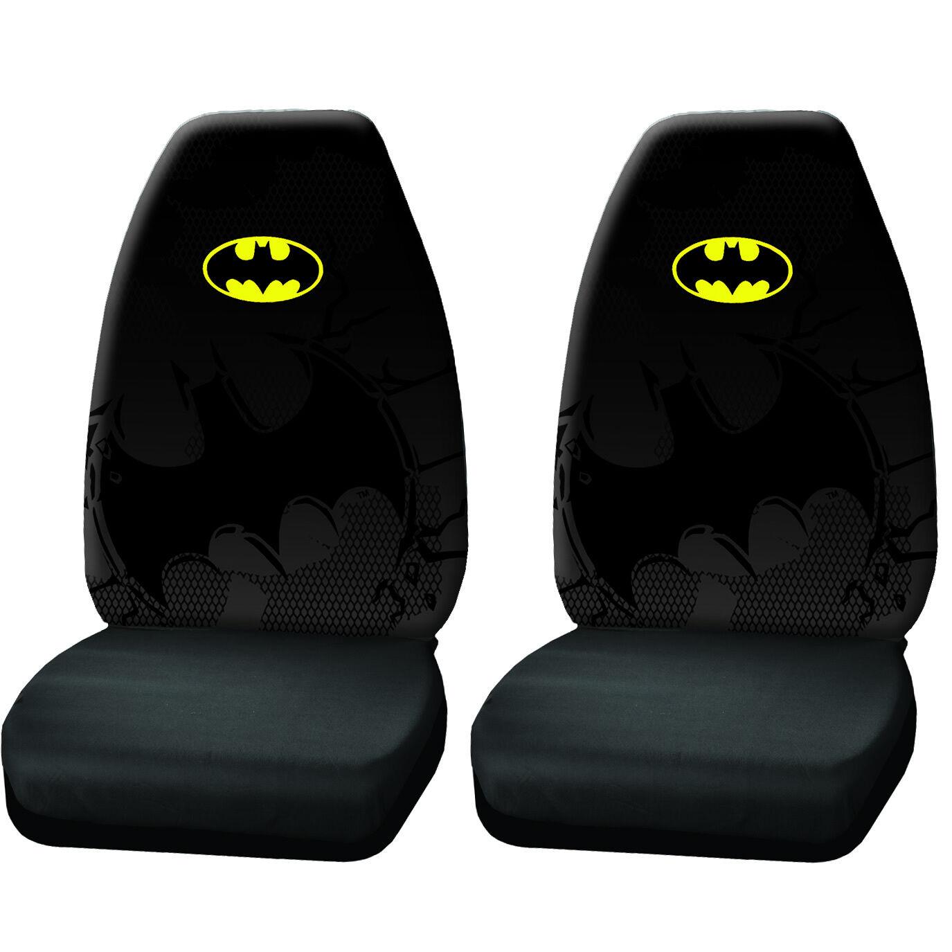 2PC New Batman Shattered DC Comic Black w//Logo Front Seat Covers Universal