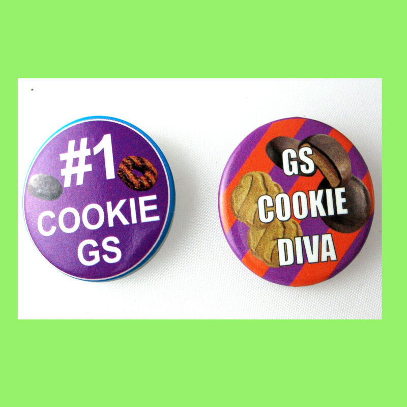 #1 Cookie Diva TWO Button Pins Girl Scout Collectors, NEW Hallmark Combine Ship