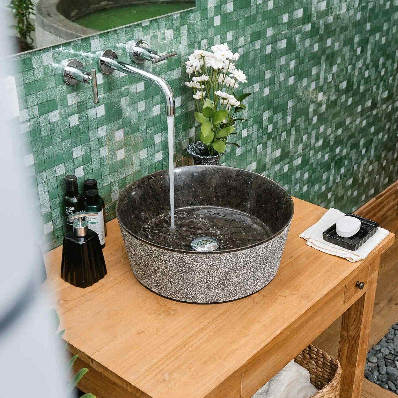 WOHNFREUDEN Waschbecken DRUM Marmor 40 x 15 cm schwarz rund Stein Waschschale