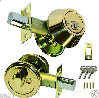 New Single Cylinder Deadbolt Door Lock Handle Set Polished Brass W 3 Keys Ansi