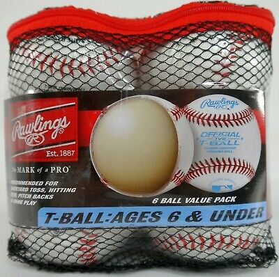 Rawlings Official TVB Soft T-Ball Baseballs 6 Ball Value Pack - Brand New