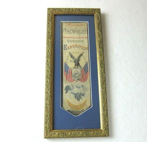 Antique 1884-85 Industrial & Cotton Centennial Exposition Stevengraph Ribbon