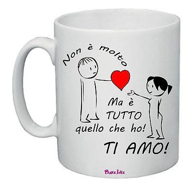 tazza mug 8x10 scritta ti amo cuore rosso idea regalo san valentino