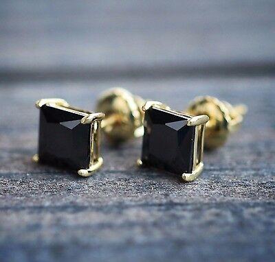 Princess Cut Black Onyx 14k Yellow Gold 6mm Stud Earrings ()